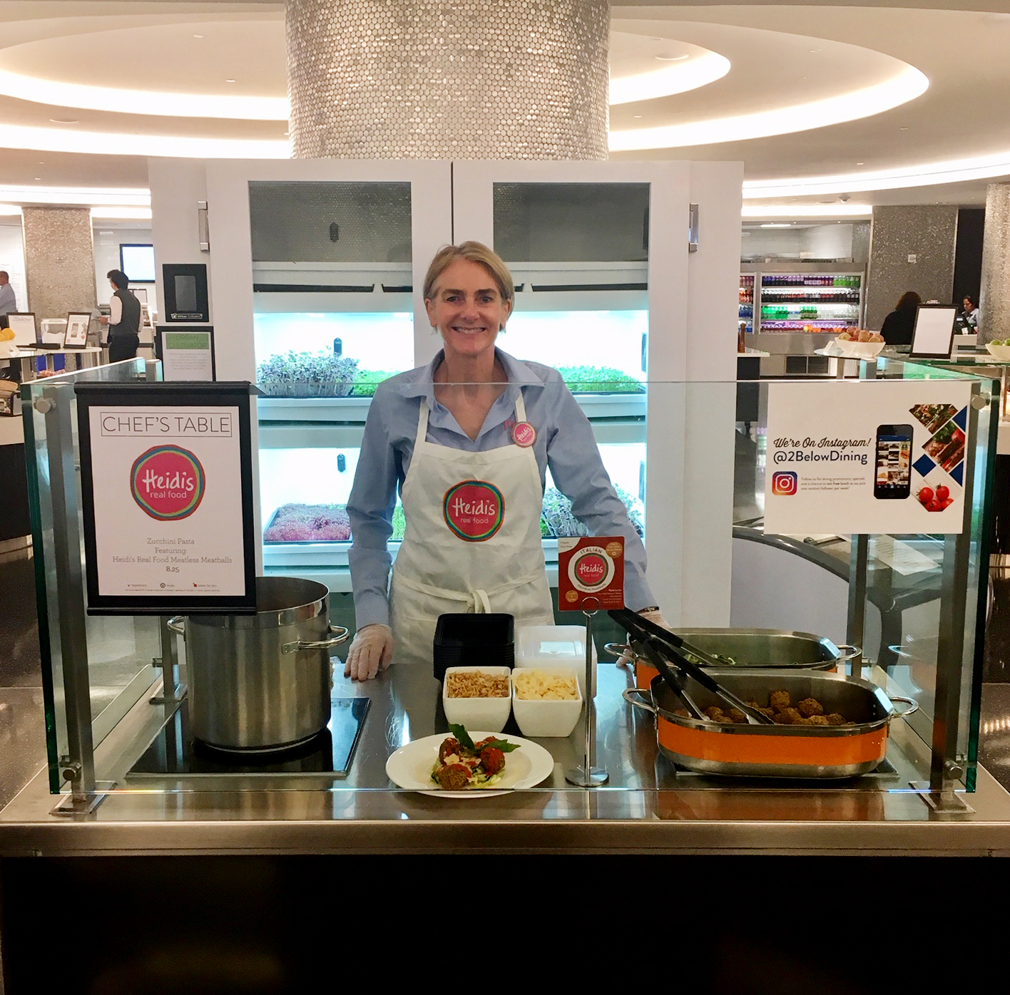 Heidi serving meatless meatballs for lunch at Credit Suisse