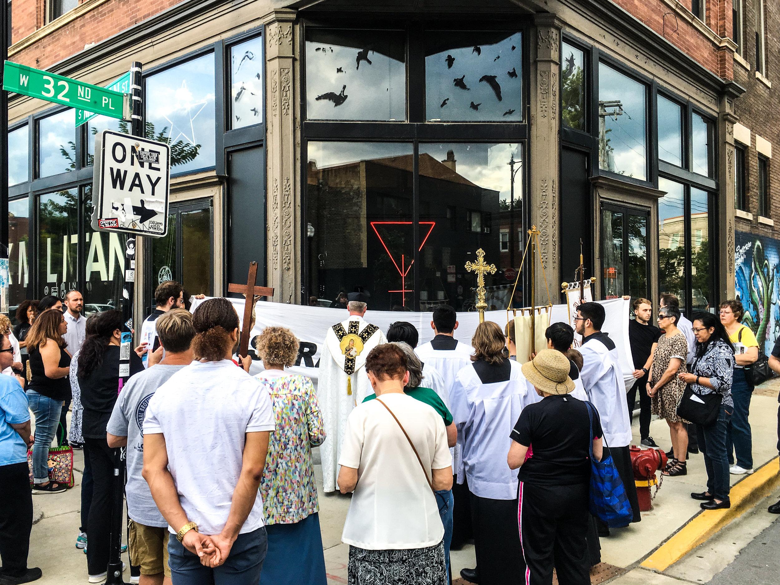 Catholic Church, unannounced protest. Photographer Leah Peacock.