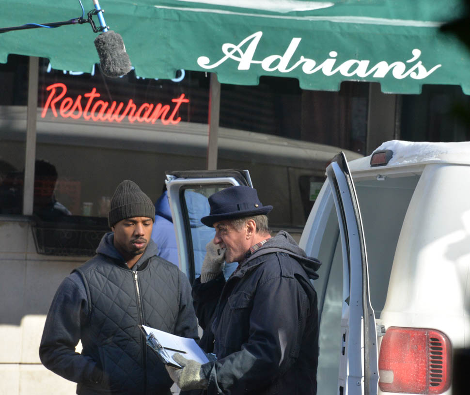 Sylvester Stallone and Michael B Jordan at Adrian's restaurant on the set of the new Rocky movie 'Creed' in Philadelphia Featuring: Michael B. Jordan, Sylvester Stallone Where: Philadelphia, Pennsylvania, United States When: 18 Feb 2015 Credit: Hugh Dillon/WENN.com