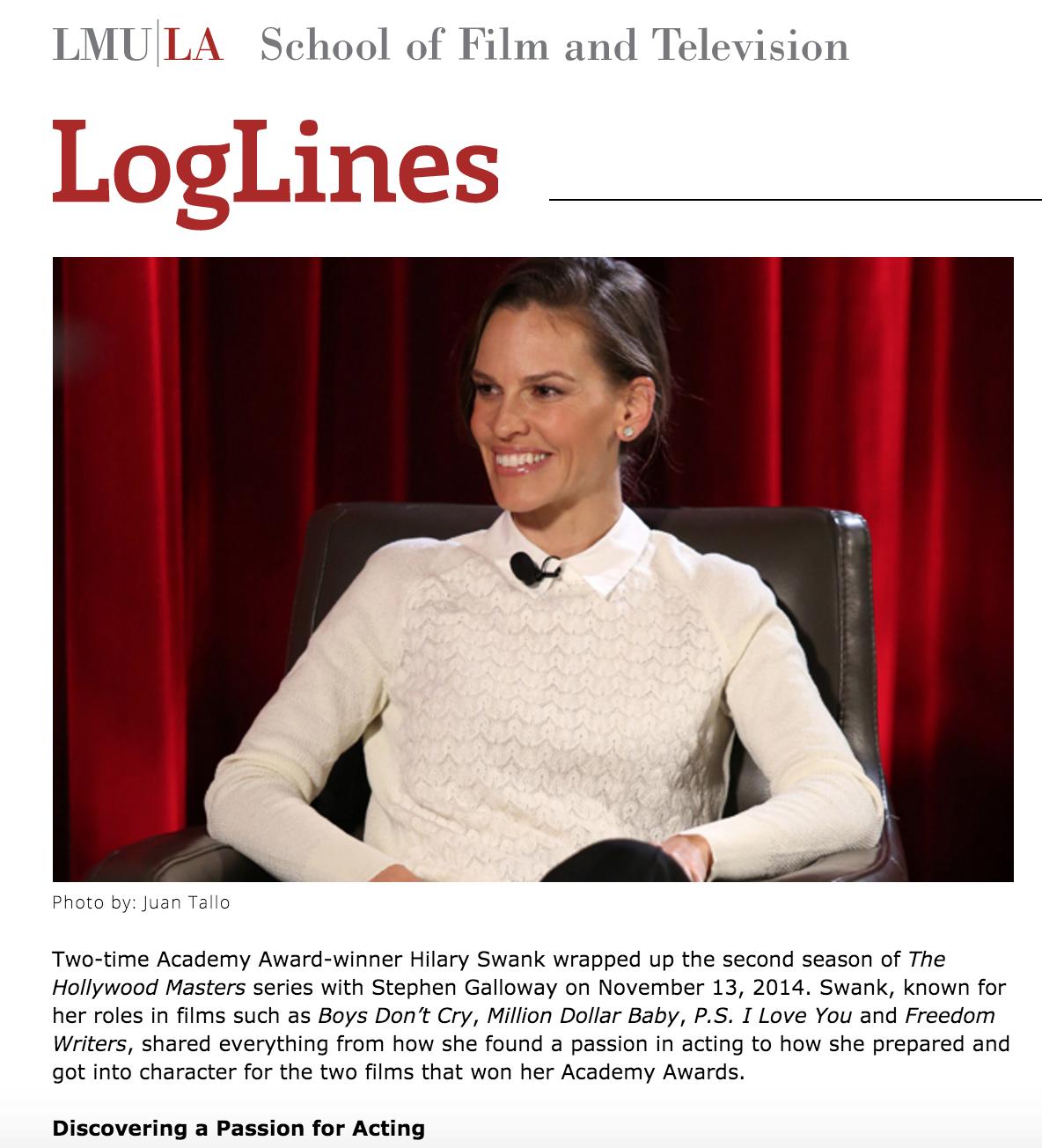 """""""The Hollywood Master: Hilary Swank"""" /Amanda Lopez   Loglines"""