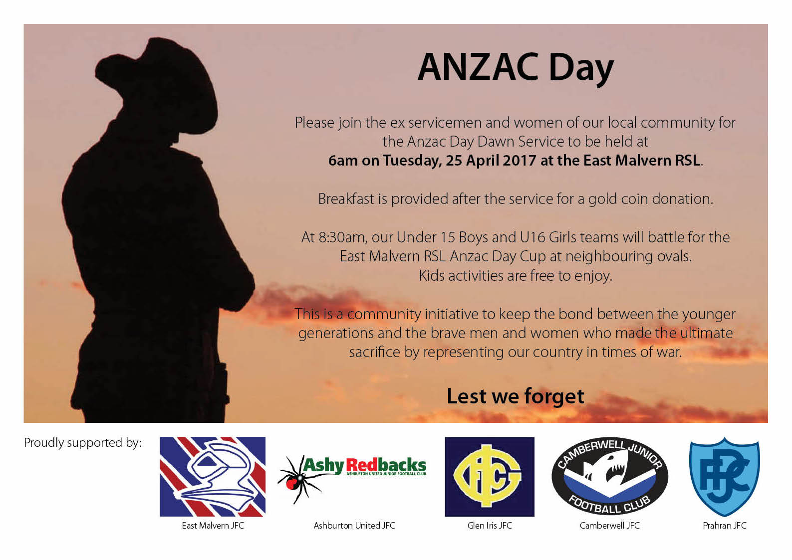 It is a pre-requisite for all players to be in attendance at the Dawn Service in order to wear the Ashy ANZAC jumper and represent our Club at this event.