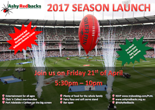 RSVP: www.trybooking.com/PLNL   If you're available to help out for an hour on the night, please let our Social team know by contacting social@ashyredbacks.org.au - thanks in advance for helping the Committee make this a great night for everyone to enjoy!