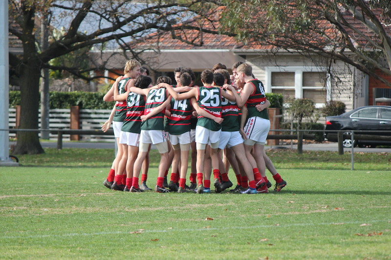 Ashburton Meats gather in during Round 8. Despite some big names out and low numbers, these boys rallied for another ripping win.