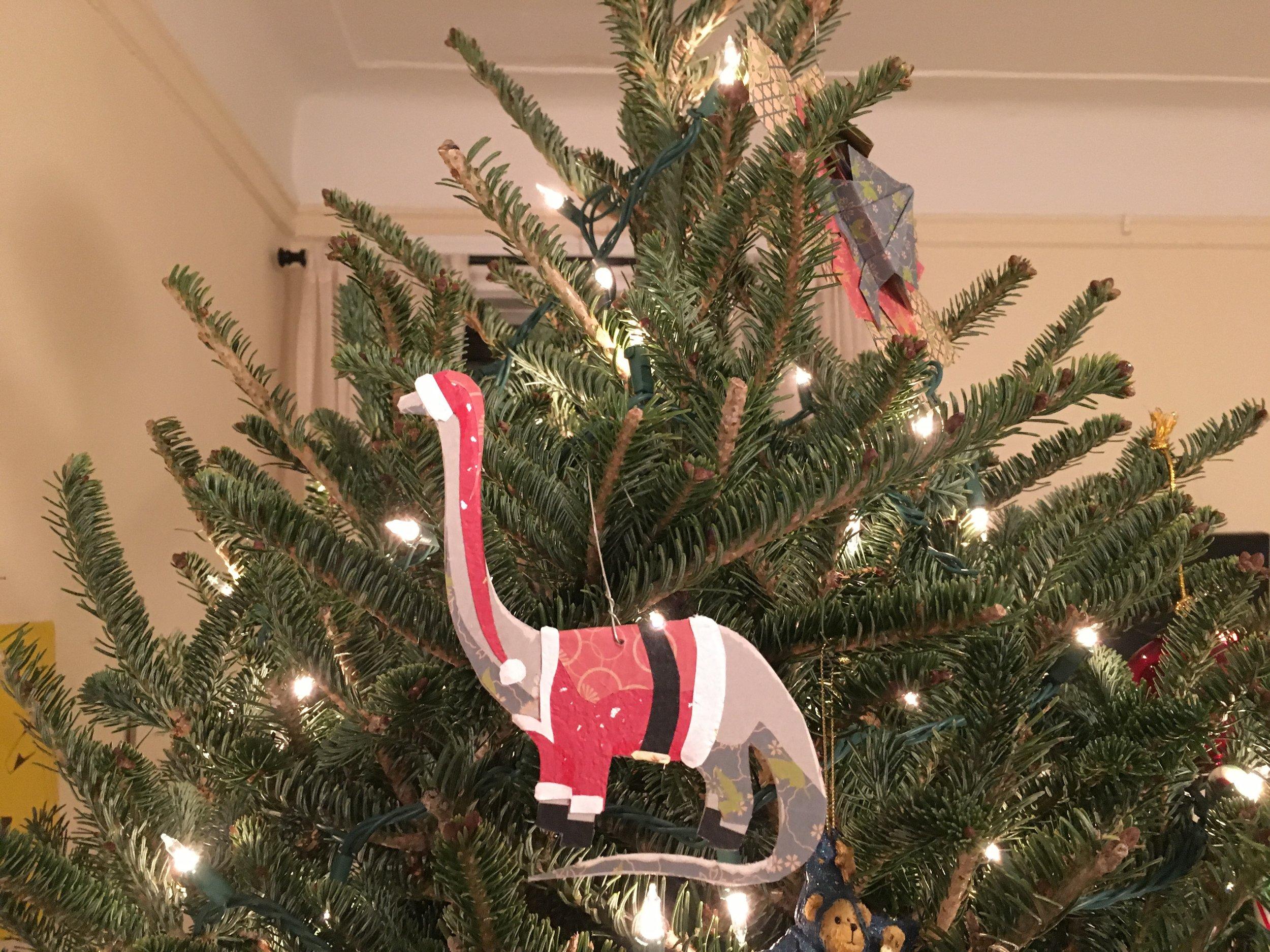 Santasaurus ornament