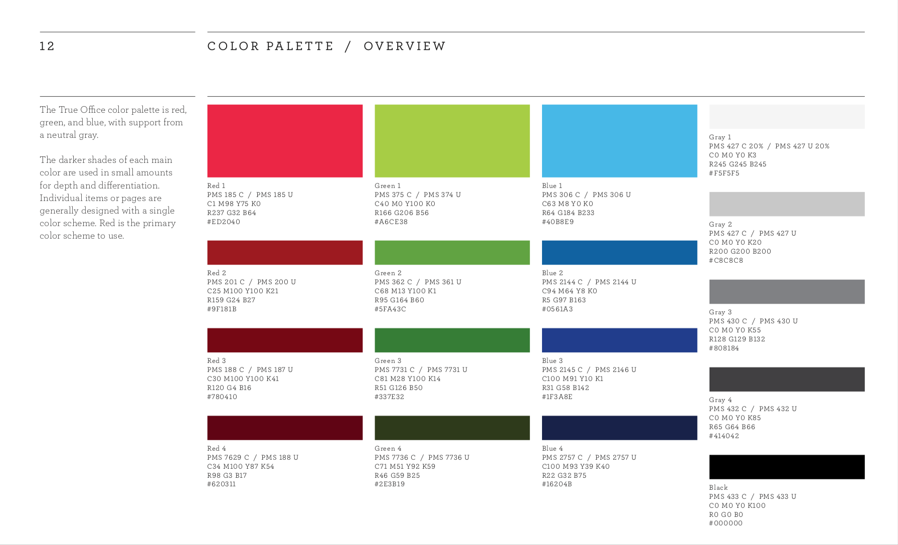 True Office primary color palette