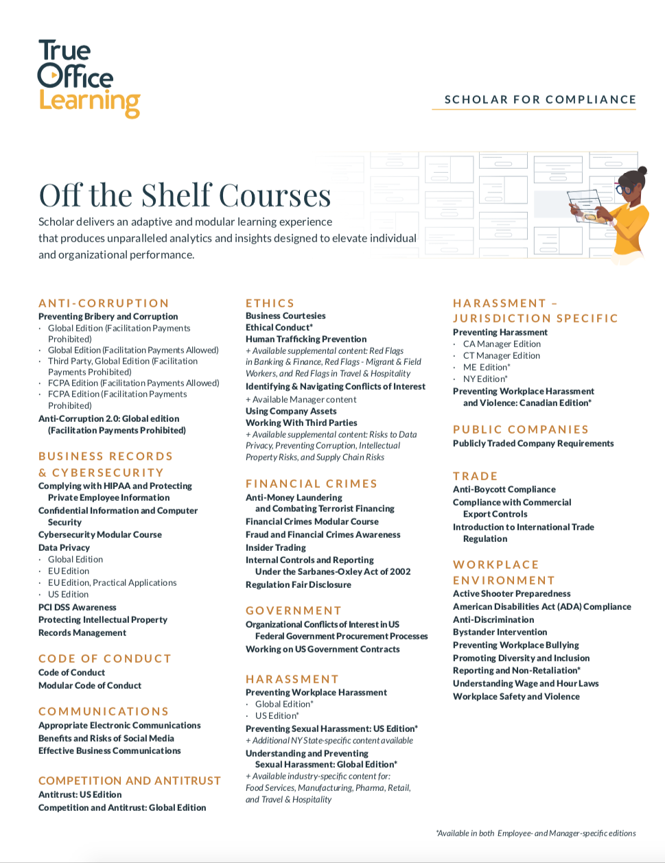 Scholar courses one pager