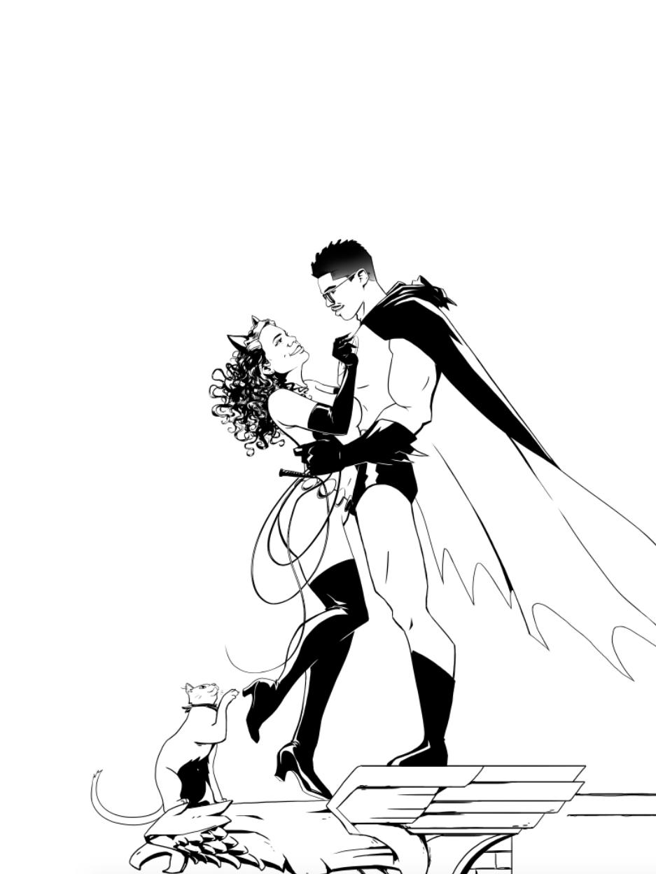 Bat-Wedding Poster/Guestbook (inks)