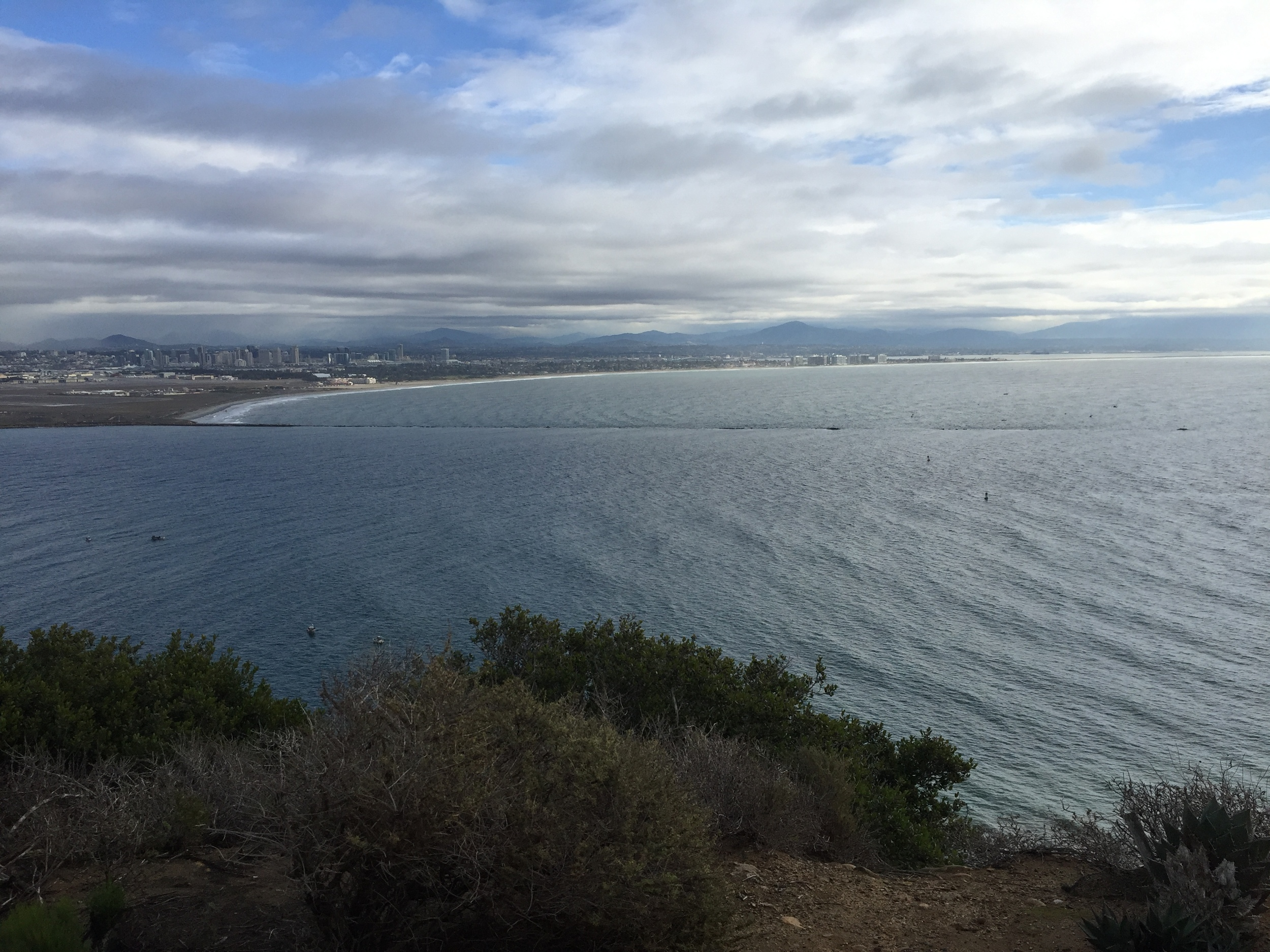 A beautiful view of San Diego harbor from Cabrillo NM. The channel markers in the center right of this photo is where I found the Brown Booby