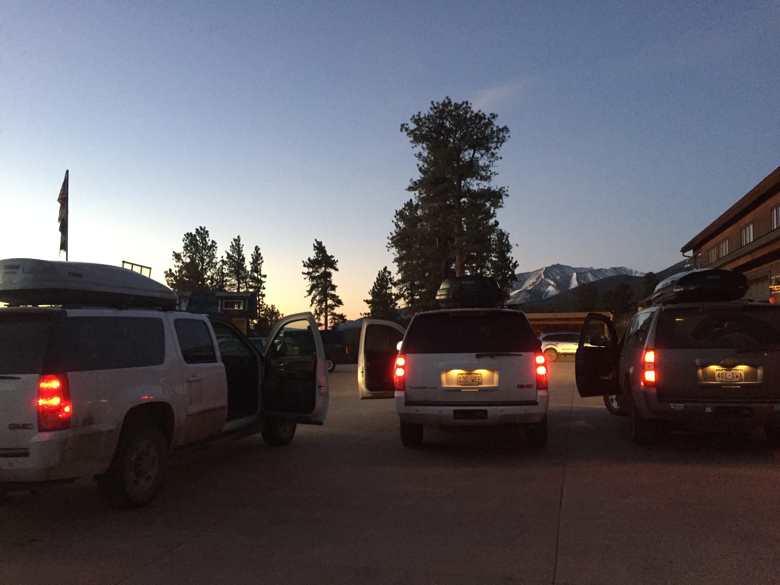 Loading up the vehicles in the pre-dawn light
