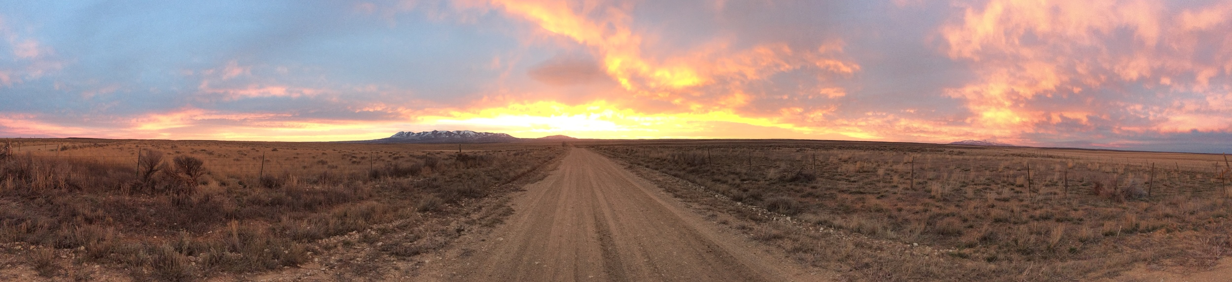 The panoramic sunset along Hickman Flats Road searching for Gunnison Sage Grouse        Camera:  iPhone 6