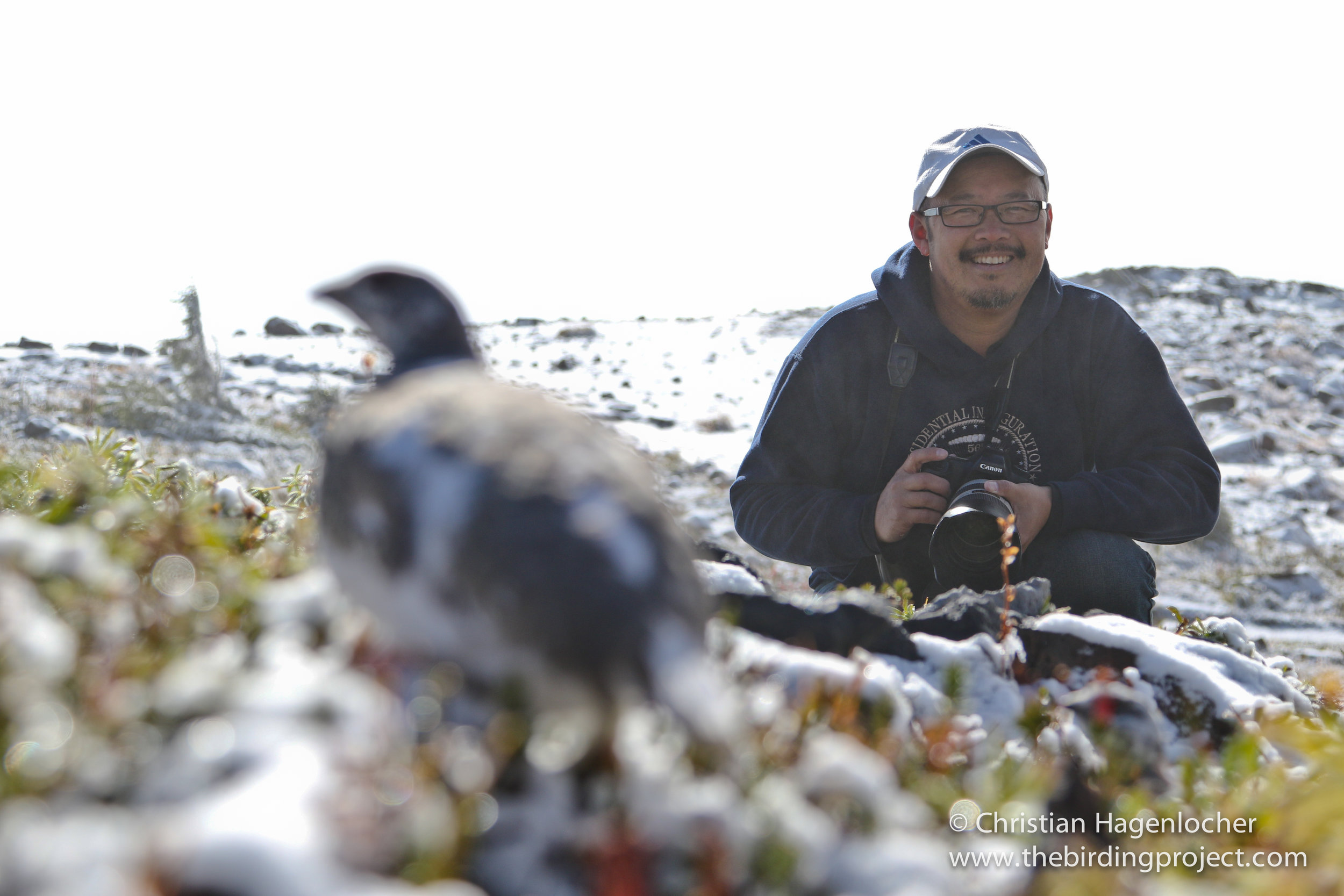 Khanh with a White-tailed Ptarmigan on Mt. Rainier. We saw three on our trip up above treeline on the snow-covered slopes- a real treat! If you'd like to bird with Khanh, look him up on Facebook Tweeters, or contact The Birding Project!