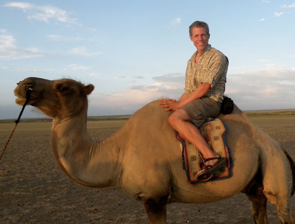 Christian takes birding to a whole new level! Gobi Desert, Mongolia