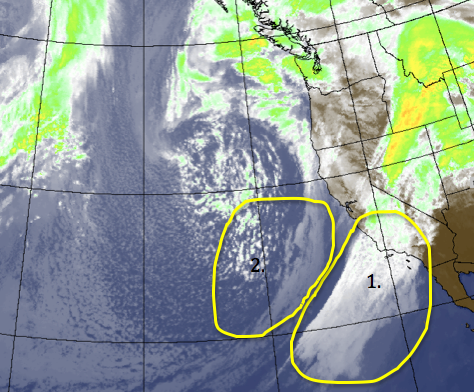 Two areas of the incoming storm system poised to move inland this evening.