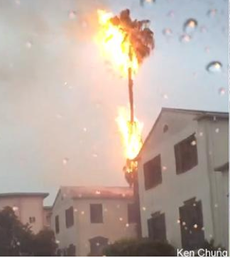 Lightning strike near Koreatown.