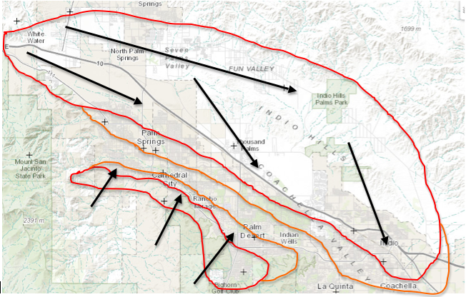 Winds on Tuesday are expected to be more widespread. Highest probabilities will be in the areas in red, with areas in orange having a lesser chance of gusty winds. Northwest winds will blow out of San Gorgonio Pass, and some southerly winds will possibly blow out of the southern canyons and passes as well. Gusts could exceed 40 once again.