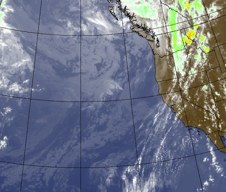 West Coast Satellite shows a few high clouds across California as part of a weak low pressure system.