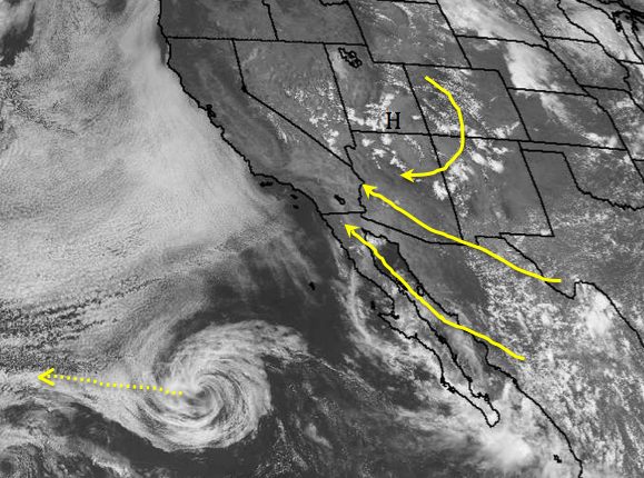 Southeast flow will increase, with better upper level moisture and dynamics allowing for the possibility of showers and thunderstorms at times, Saturday - Tuesday. A decaying tropical system is also seen well off the Baja coast, moving west/northwest.