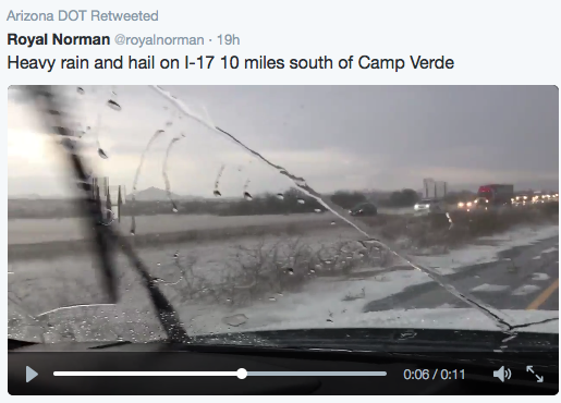 Notice the hailstones covering the ground along this stretch of I-17 in the deserts north of Phoenix.