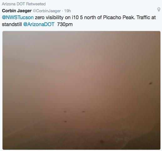 Zero visibility along I-10 northwest of Tucson. Hazardous driving conditions.