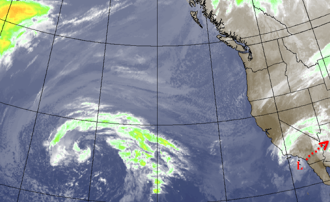 Low pressure over S. Cal will move east Friday night.