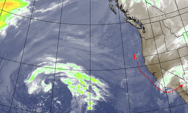 Saturday nights system doesn't look like much on satellite images as of Friday night, but the storm is expected to intensify tonight as it heads south. the system will curve east over our area and move out early Sunday morning, dumping more snows in the mountains and rains in the lower elevations.
