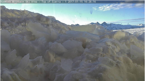 Web cam at the top of Mammoth Mountain in nearly buried in 22.5 feet of snow!