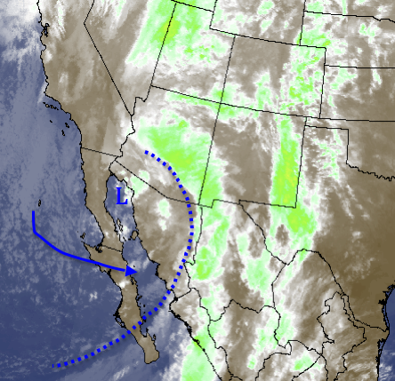 Low pressure south of Yuma, AZ as of 8:00pm Saturday night. A cold front extends all the way south through Cabo San Lucas, Mexico.