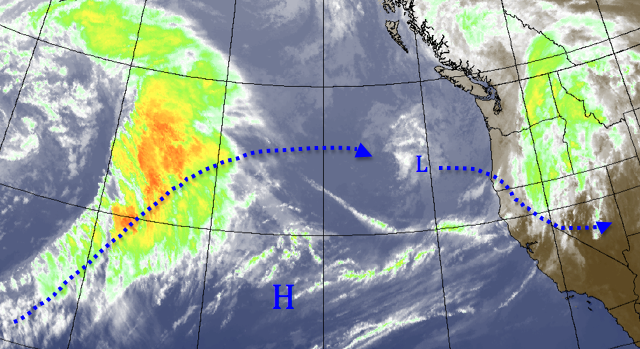 Wednesday afternoon satellite view (source: Meteostar). Another low pressure system is approaching the coast of Oregon, and will dive south into southern Nevada and Utah tomorrow.