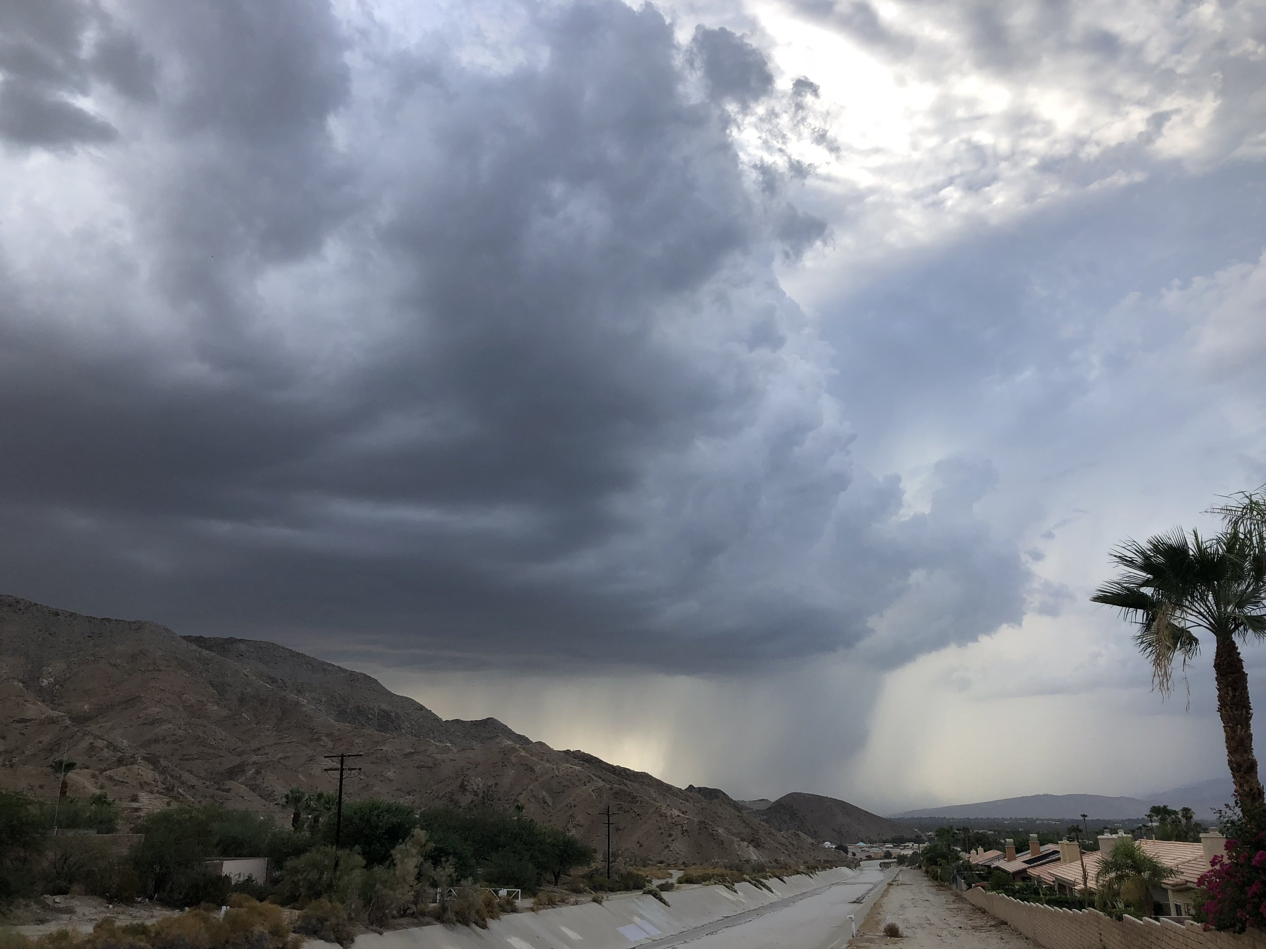 Storm clouds from earlier July when 1.11 inch of rain fell in Palm Springs.