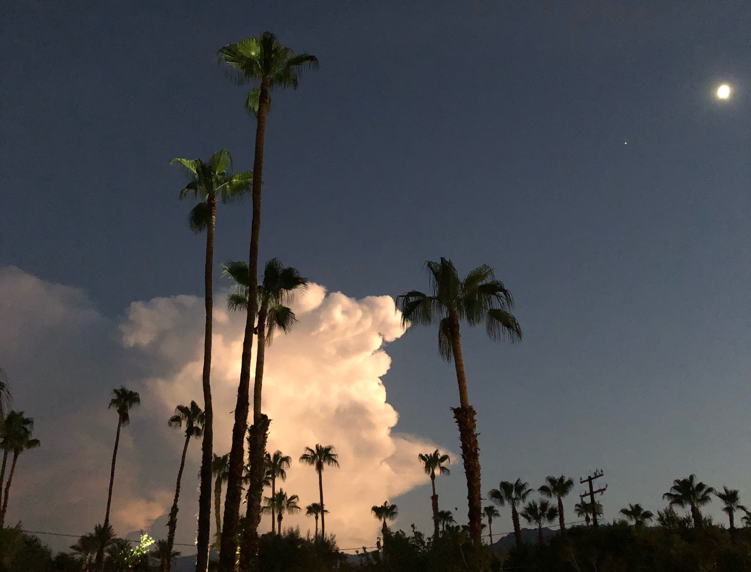 Evening thunderstorms created a light show as lightning lit up the skies. The storm was over and south of the Santa Rosa Mountains, creating over 2 inches of rain in remote sections of the nearby deserts.