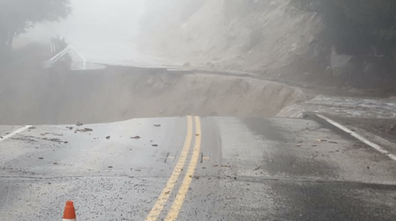 Highway 243 near Lake Fulmor, in the Idyllwild area, has been washed out.
