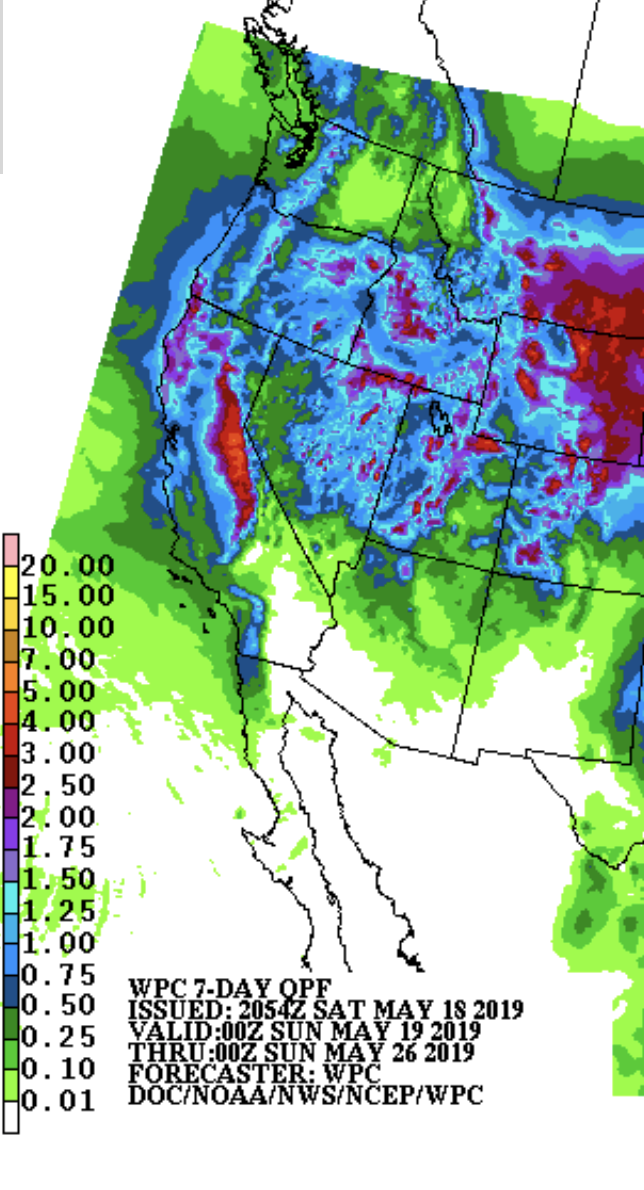 Nearly the entire West will get a nice soaking at times the next 7 days, according to the latest National Weather Service predictions.