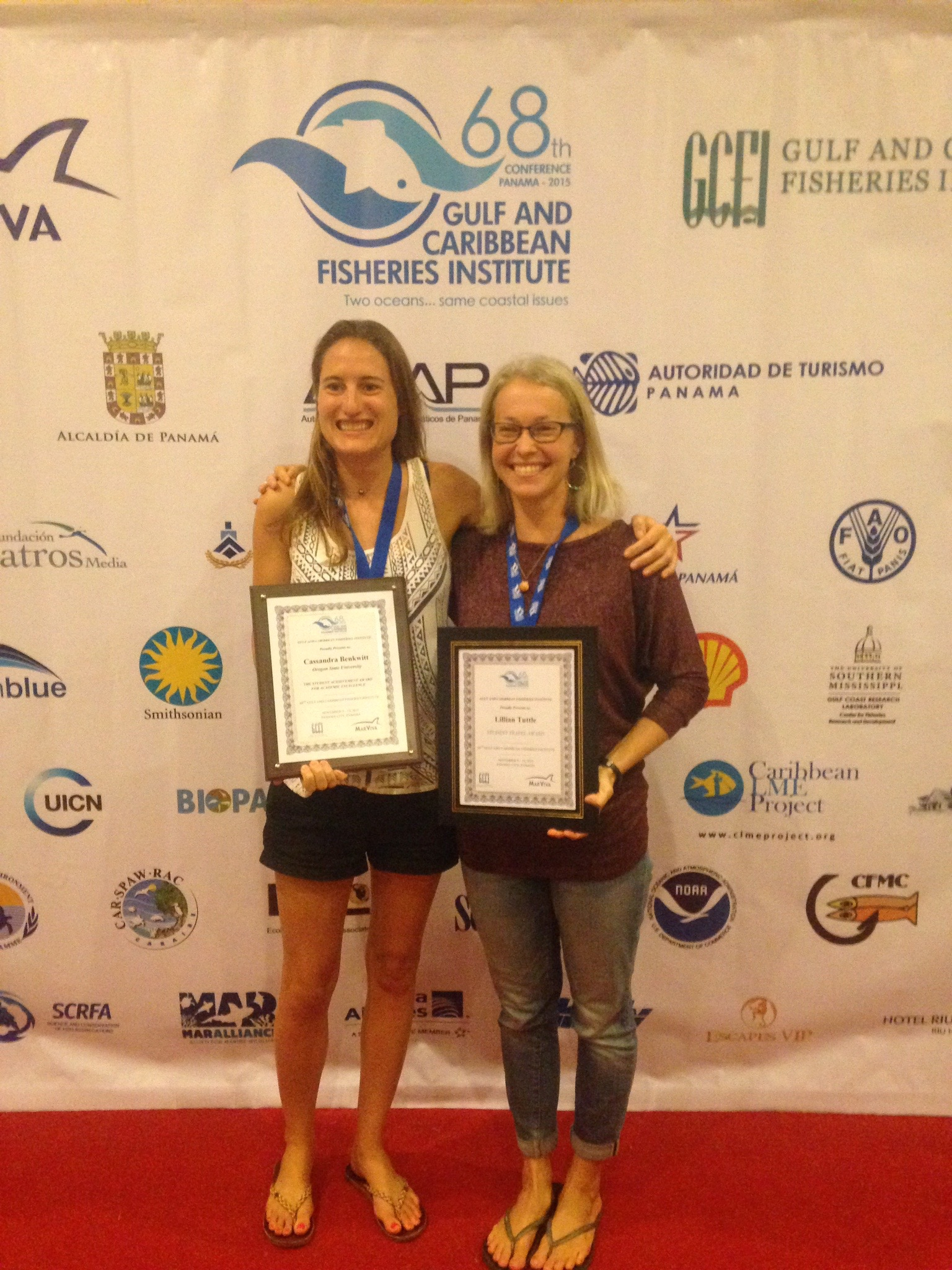 Casey Benkwitt, my lab mate, and I receiving honors at the 2015 Gulf and Caribbean Fisheries Institute meeting in Panama City, Panama.