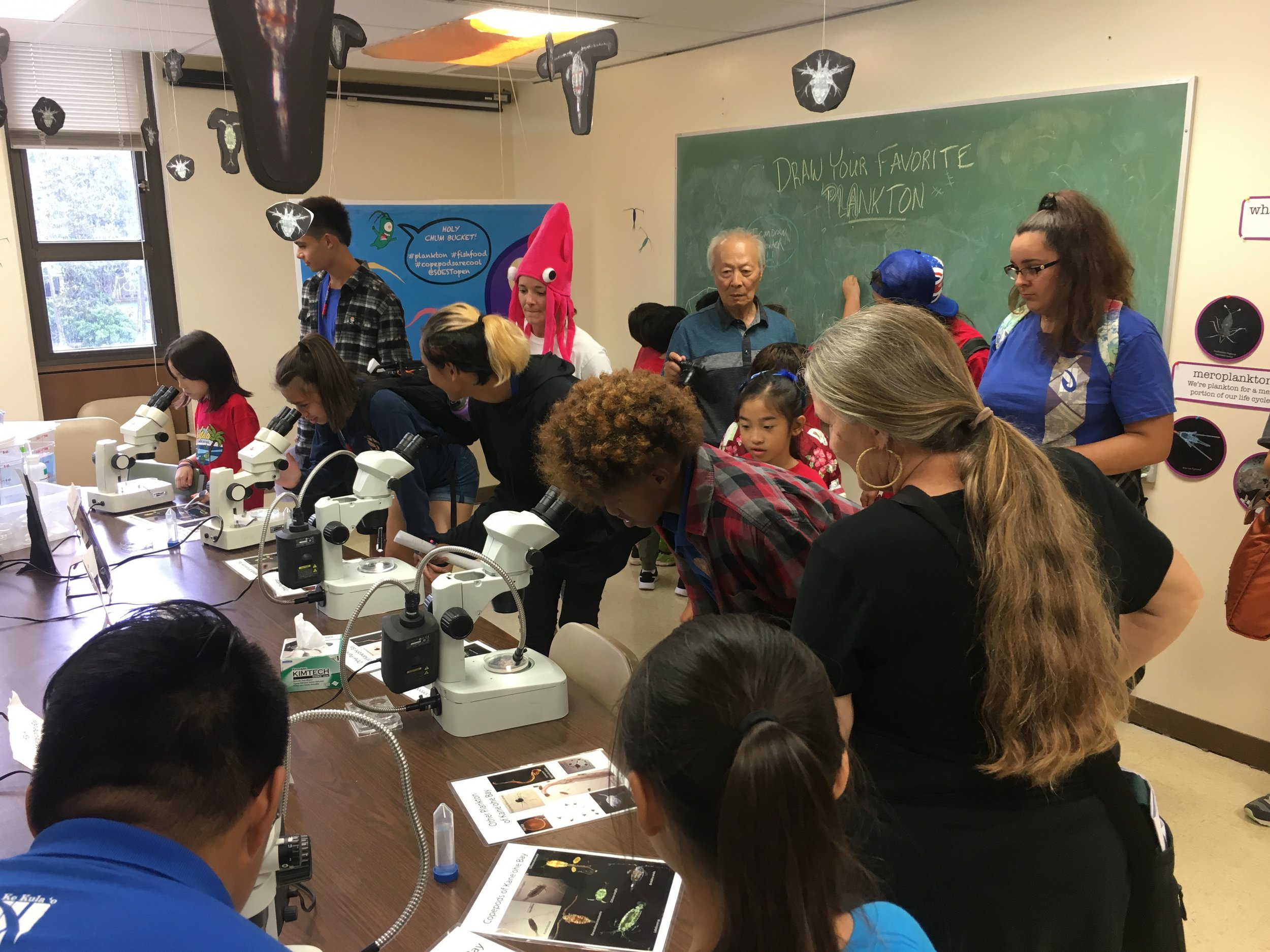 HOLY CHUM BUCKET! The SOEST Open House was a big success, teaching a couple hundred local students about plankton.