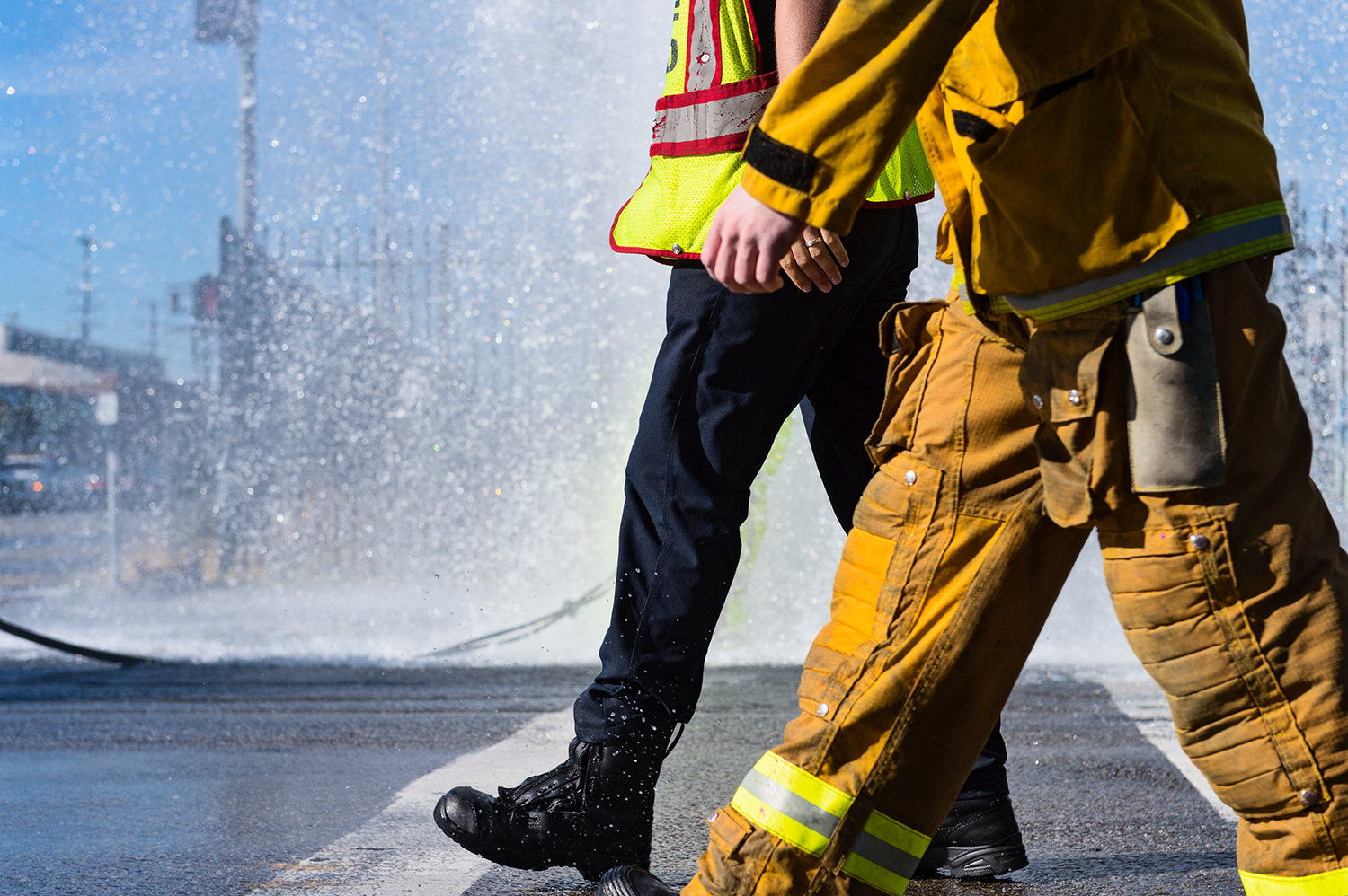 Los Angeles City Fire Dept. fixing a hydrant,  Angeleno Falls .
