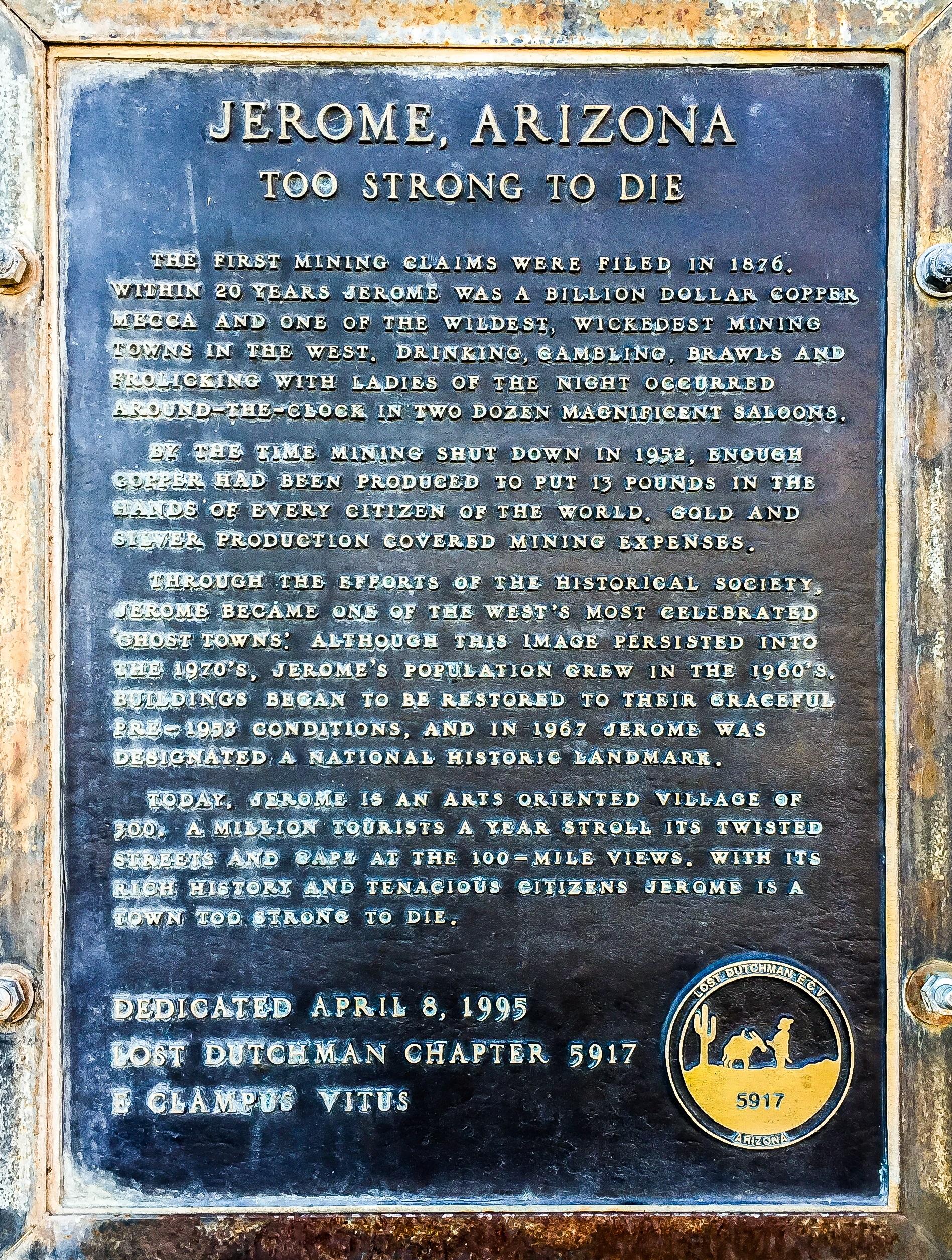 Jerome Founding Plaque