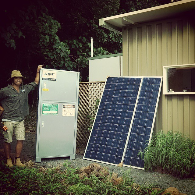 Posing with my #offgrid set-up for @kyliecoelli cabin like #containerhome at Goonengerry 🌅🌏 Shout out to Matt Mooney @greenerbuilding in helping make the water proof housing for the #batterystorage and associated switchgear and inverter.  #kickthegrid #smartliving #solar #sustainable #eco #gosolar #thinksmarterthinksolar #climatechange