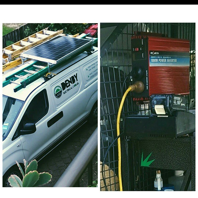 Took me a while to figure how to fit a #solar panel on a roof of a #workvan. Got there in the end!  Will come in hand being both 240v and 12v. Power source for charging station, power tools, smoko toastie and #camping!  #sustainable #thinksmarterthinksolar #gosolar #greenliving #campervan