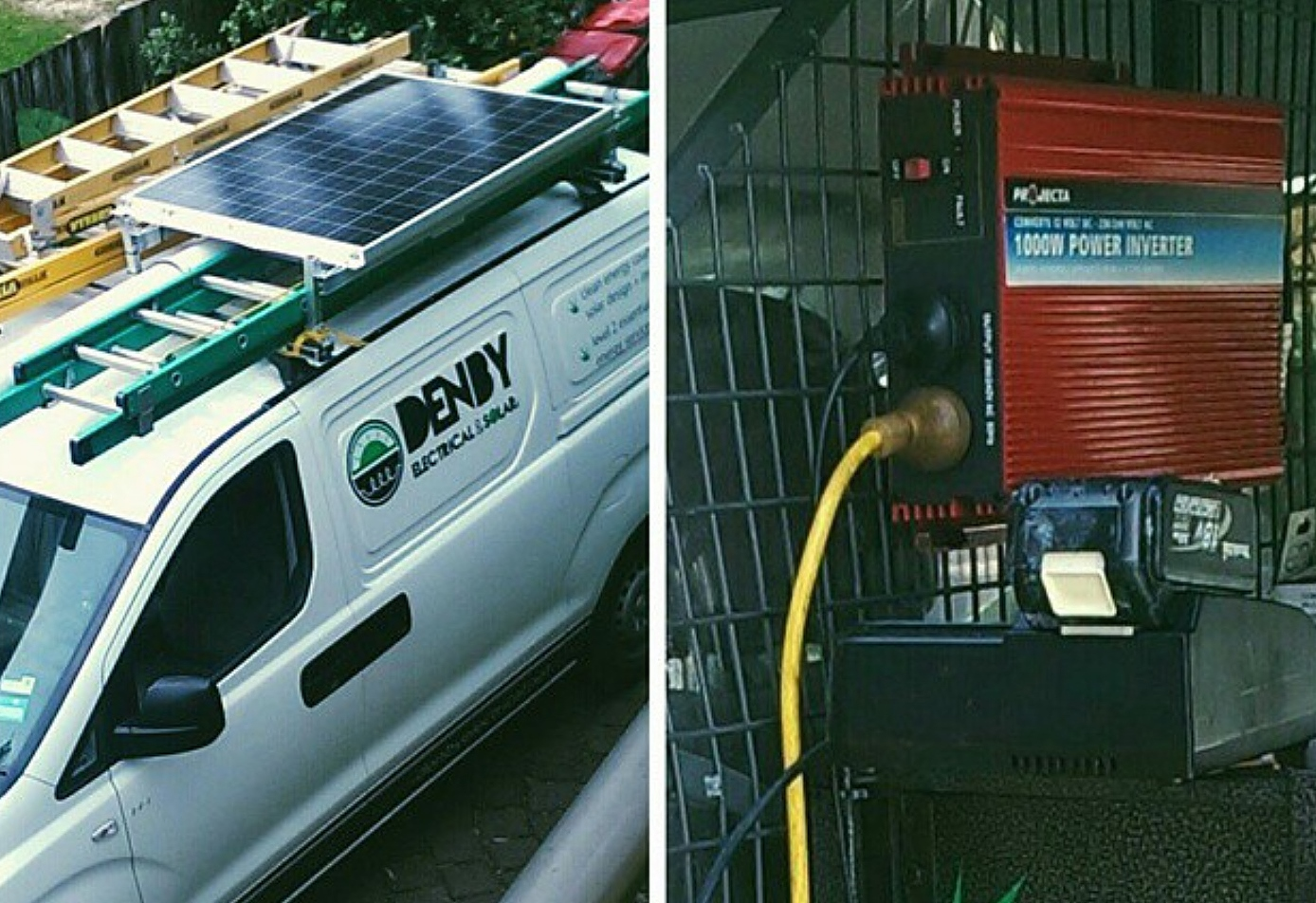 Mobile solar panel on van