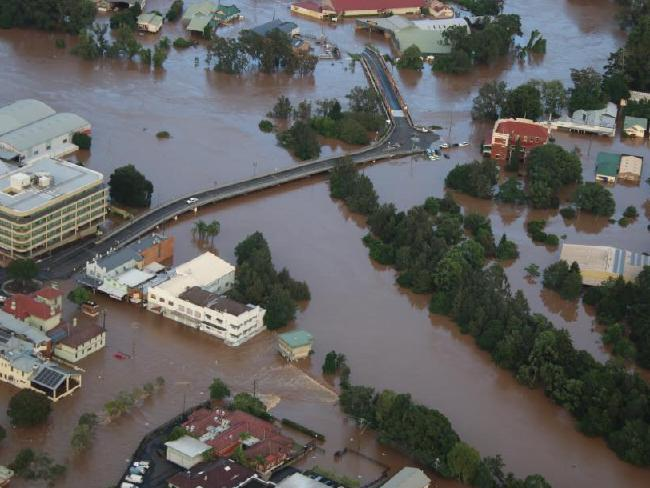 Aerial view of the flood in Lismore over the weekend, courtesy of the Daily Telegraph