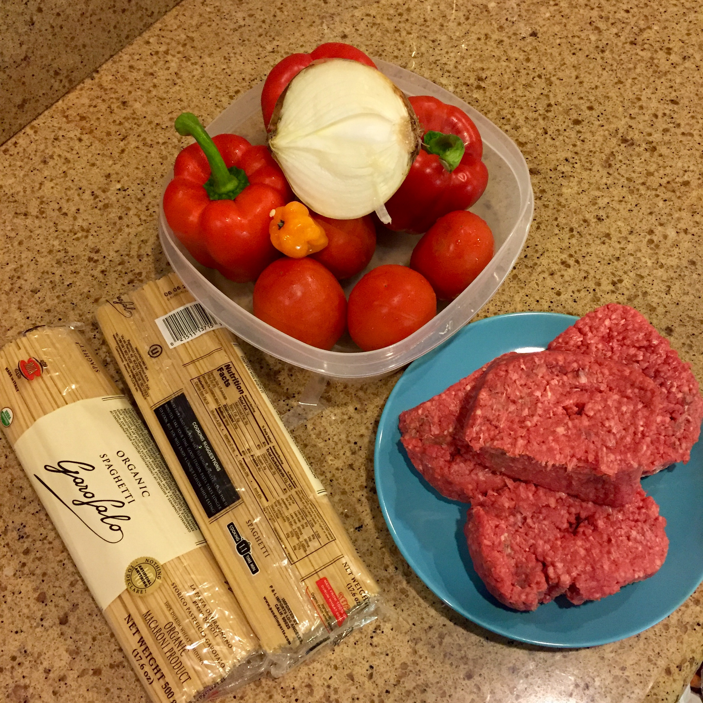 onion, red bell peppers, tomatoes, habanero, spaghetti, ground beef