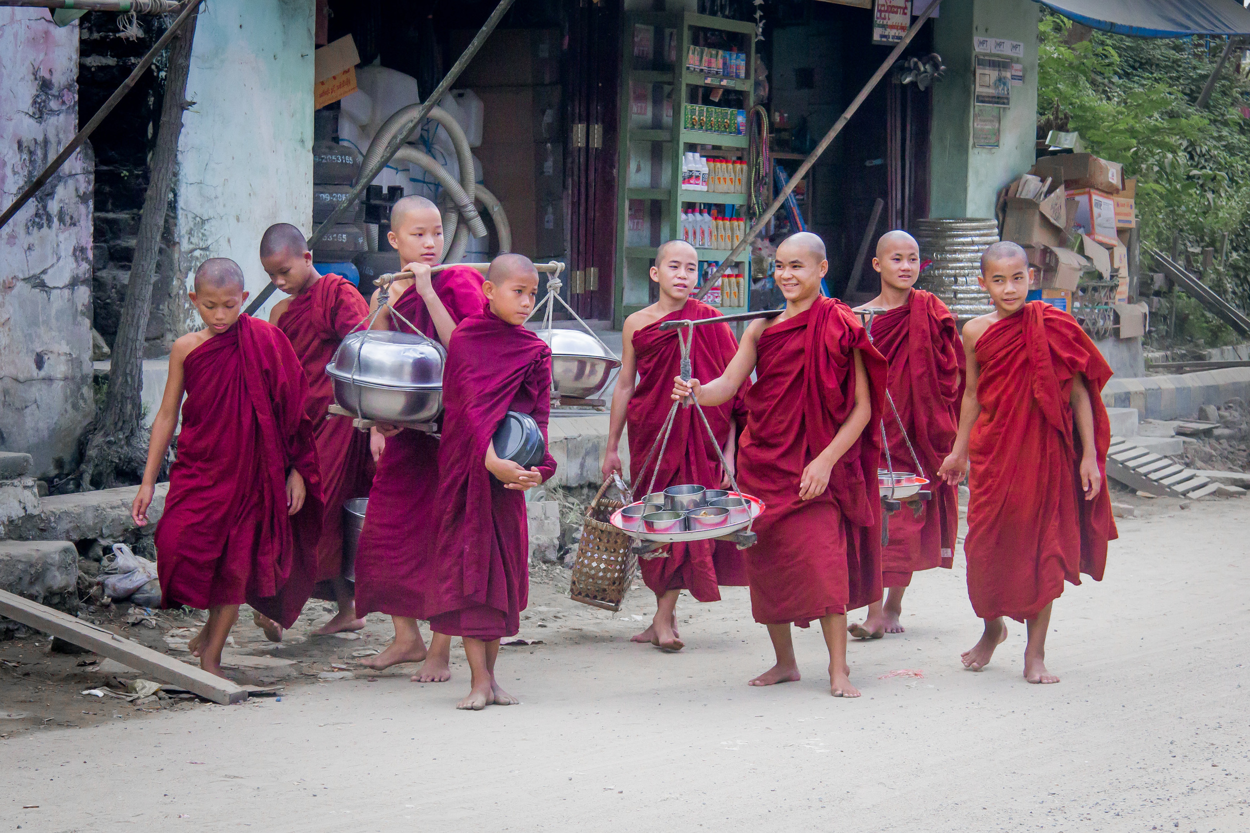 Young monks in the northern town of Kalewa
