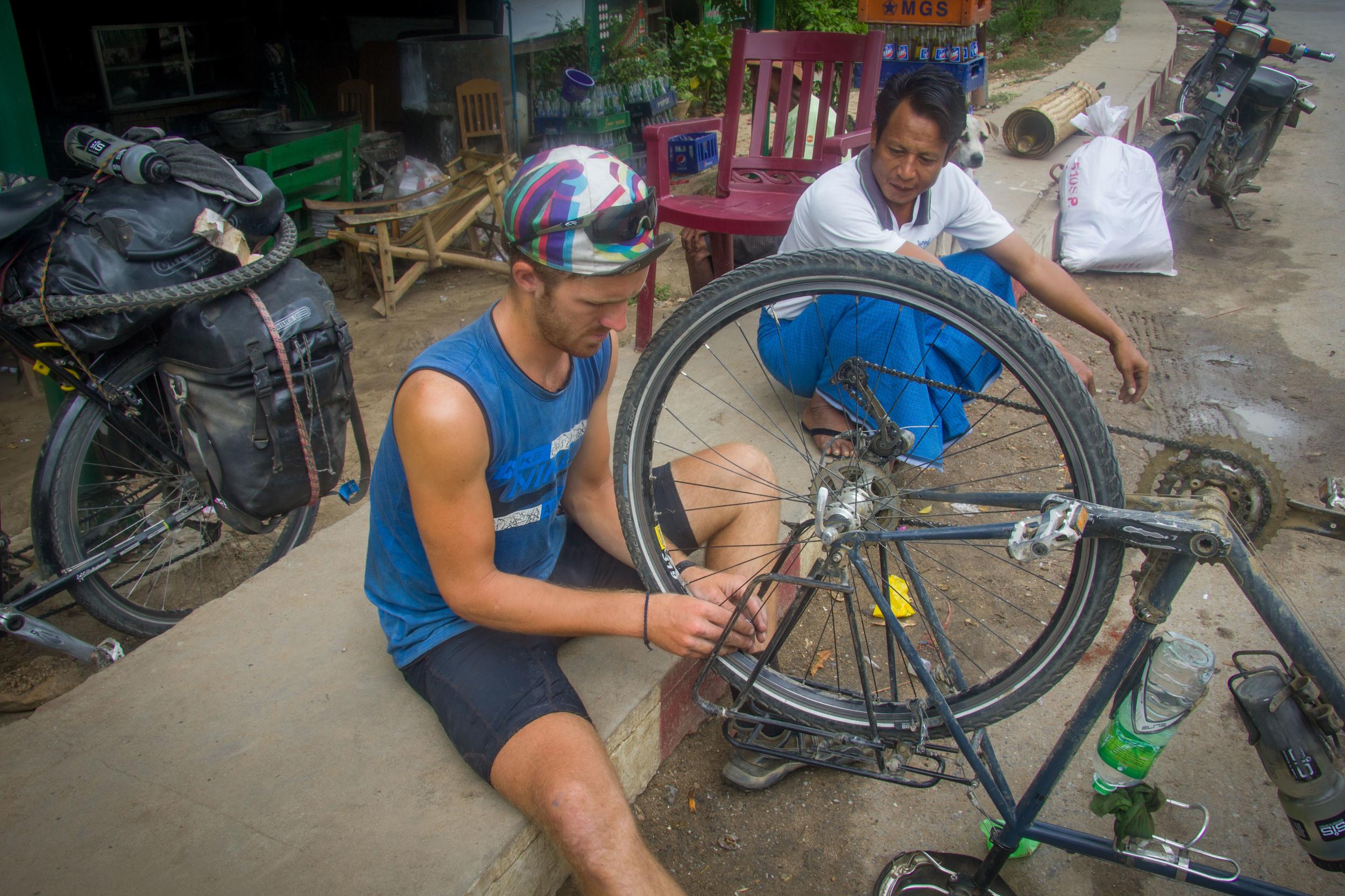 Trueing a buckled wheel in Yesagyo