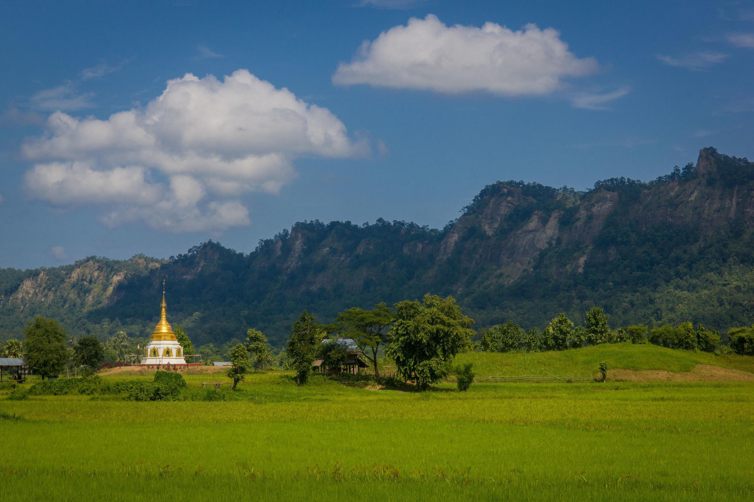 Rural Myanmar. Temples everywhere.