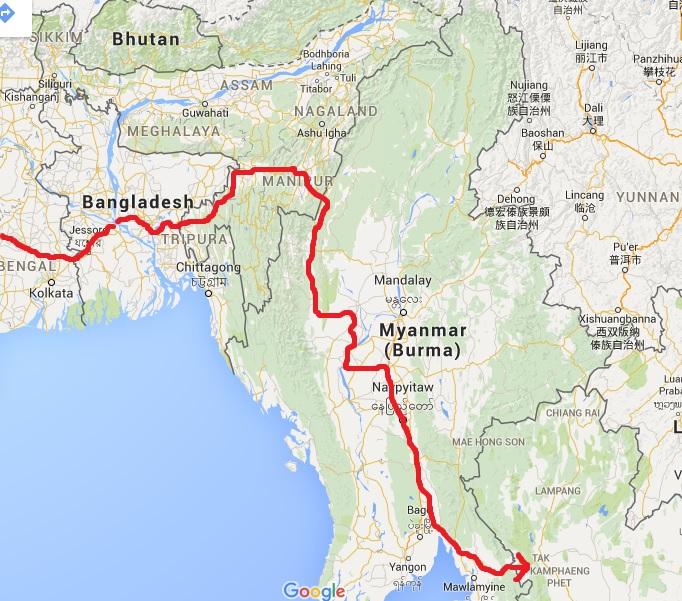 Route through Bangladesh, the 'Seven Sister States' of NE India, and Myanmar, to Thai border.
