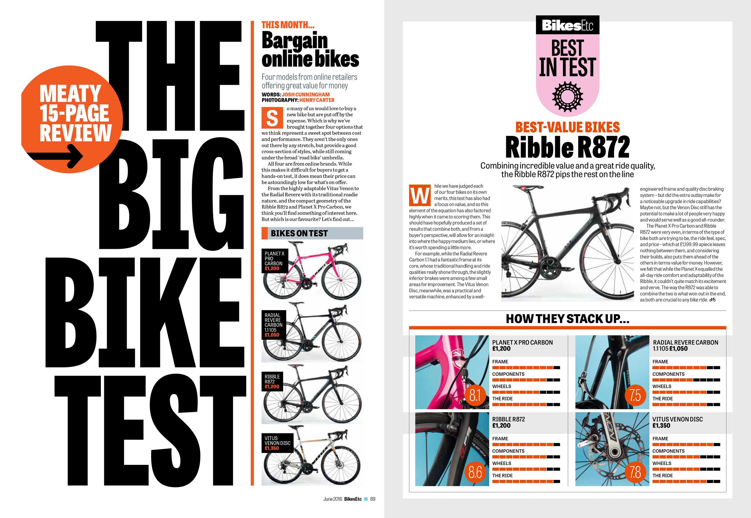 'The Big Bike Test - Bargain online bikes' written for  Bikes Etc .