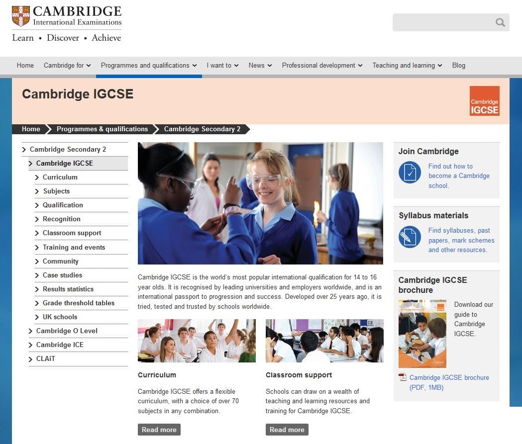 Cambridge iGCSE website thumbnail