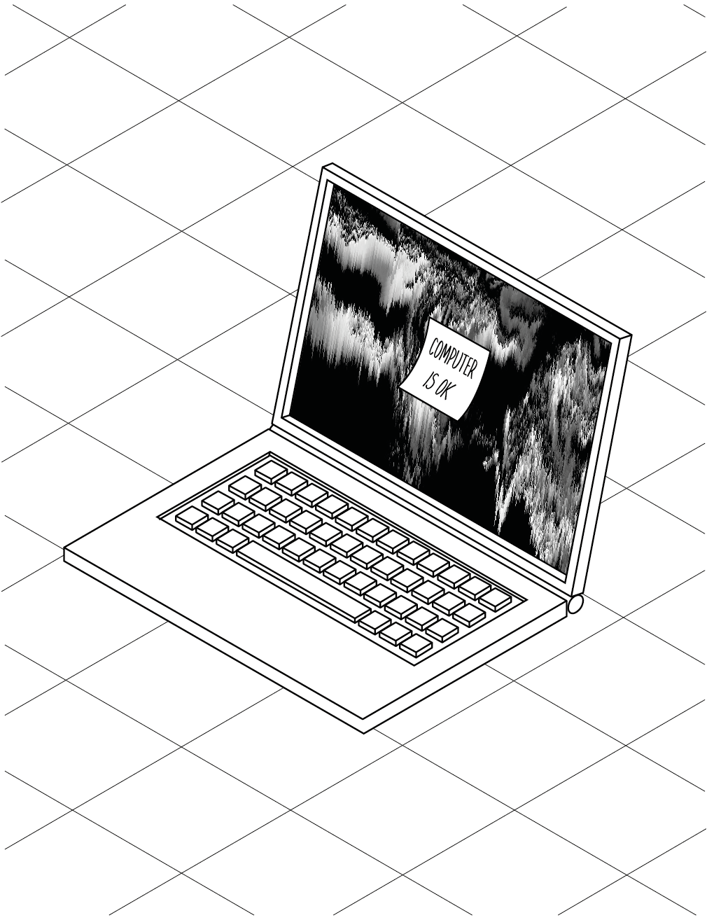 Personal project, Isometric computer with glitch