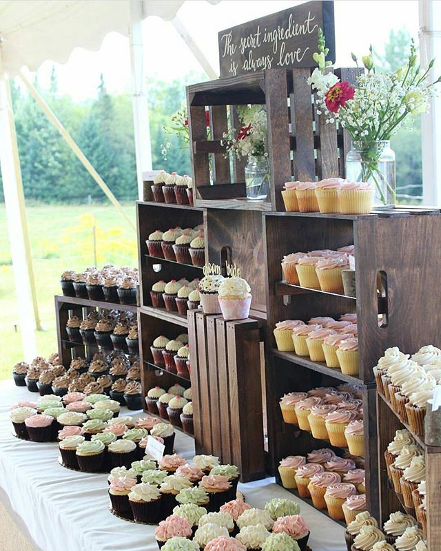 Dang, @hennybcakes! Now that is a display! Happy to have been able to make a sign for your delicious sweet treats. **Repost** @hennybcakes: A month ago I created a 300 cupcake dessert display for a sweet couple on their wedding day. #newhampshirewedding