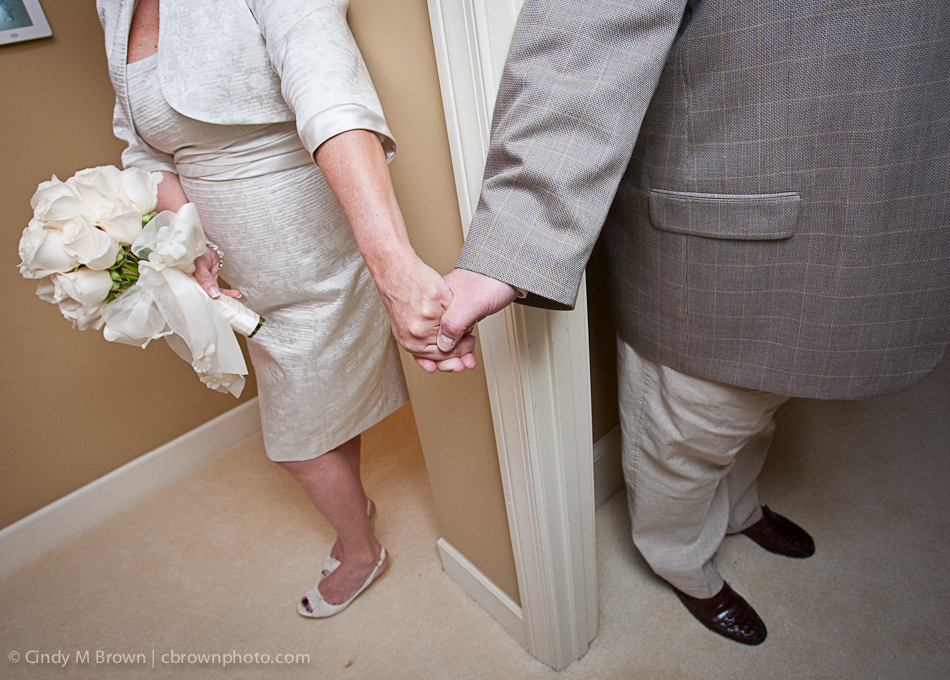 Tom Martin and Shari Harvey get married at Jan's house in Alpharetta, GA.
